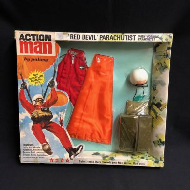 ACTION MAN - RED DEVIL - VINTAGE CARDED UNIFORM OUTSTANDING 1970's issue (Larger Chute))